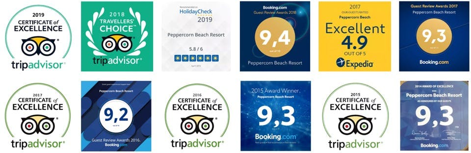 Peppercorn Beach Award Logos
