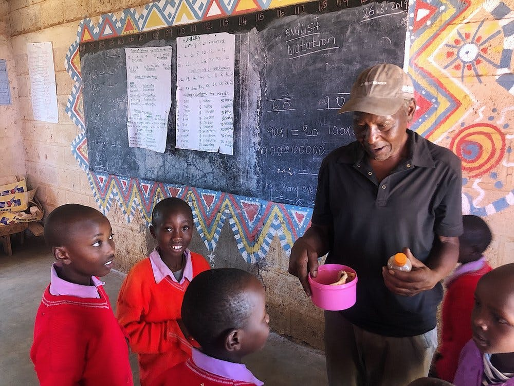 Mr Kariuki in a classroom at the local school.