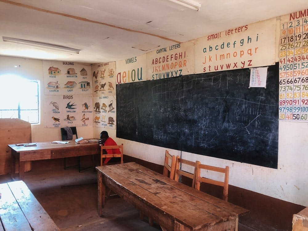 A classroom at the local school near Olepangi Farm.