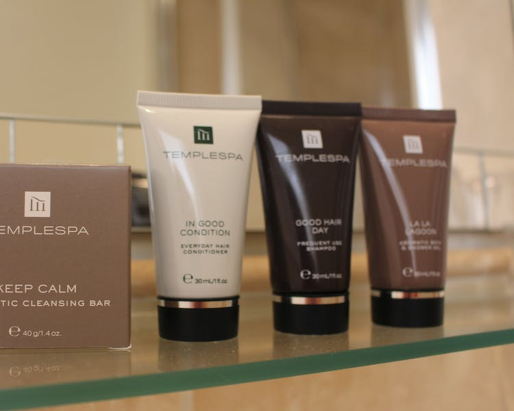 Temple Spa products in the rooms at The Wensleydale Hotel, Middleham, offers boutique accommodation in the