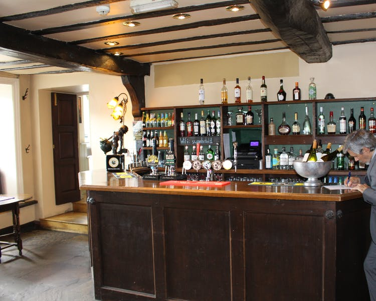 The bar at The Tack Room Restaurant & Bar, boutique continental dining in Middleham, Yorkshire Dales,