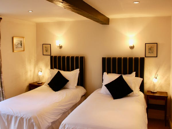 Twin bedroom at The Wensleydale Hotel, Middleham, offers boutique accommodation in the heart of the Yorkshire Dales
