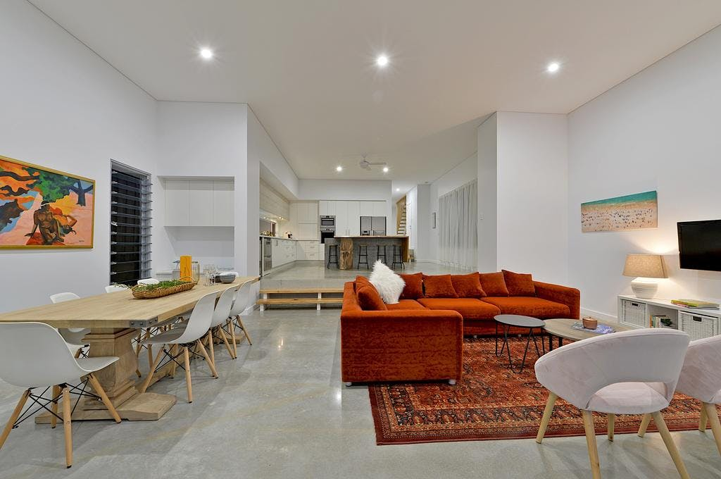 Living and Dining area with easy care polished concrete floors 1