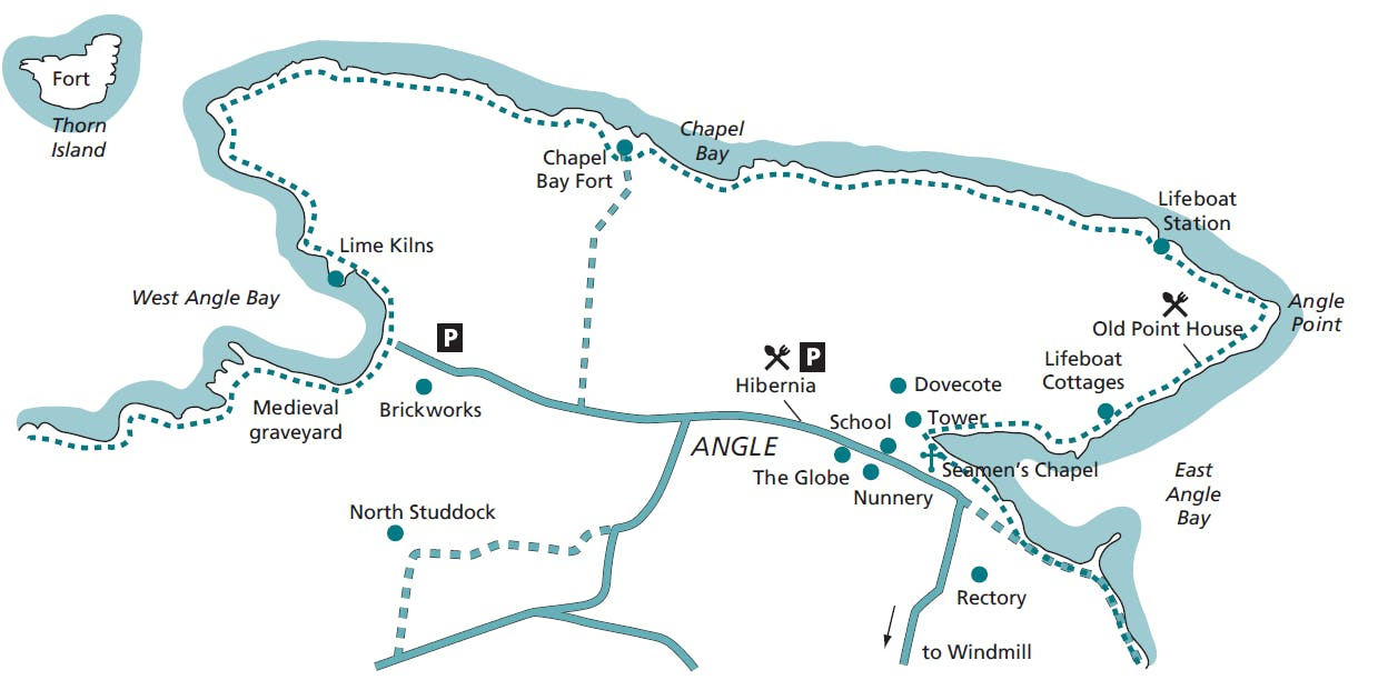 Map of Angle with key sites including The Globe