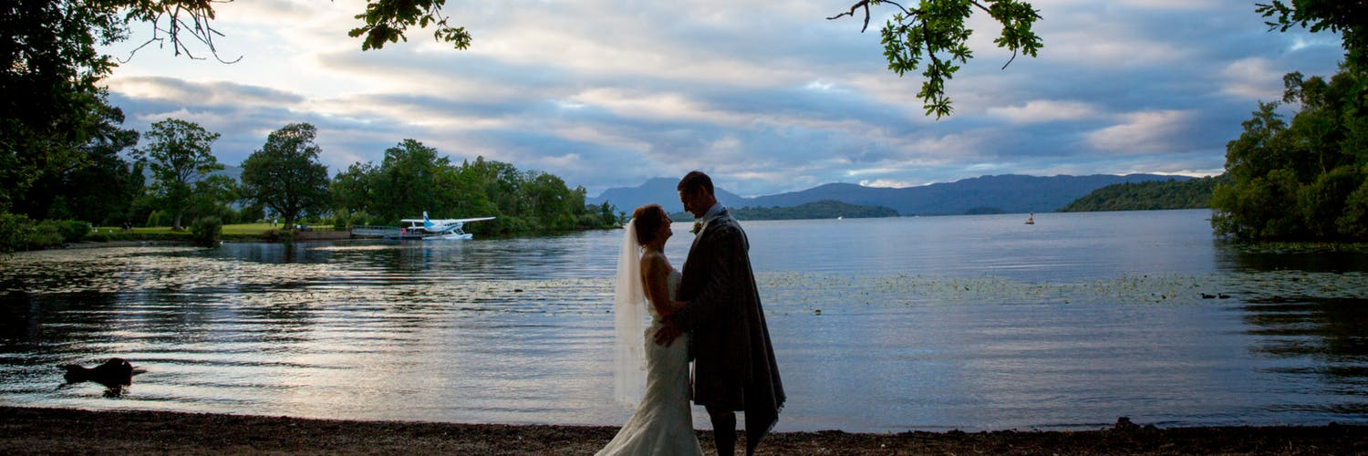 Wedding Couple on Side of Loch Lomond