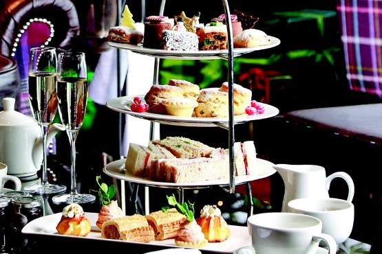 Festive afternoon tea treats and champagne