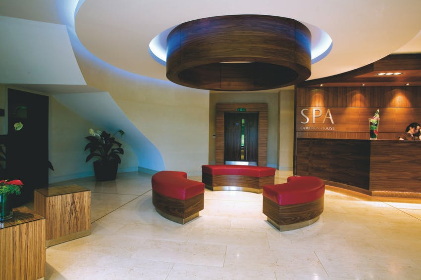 Front desk of the Carrick Spa in Loch Lomond