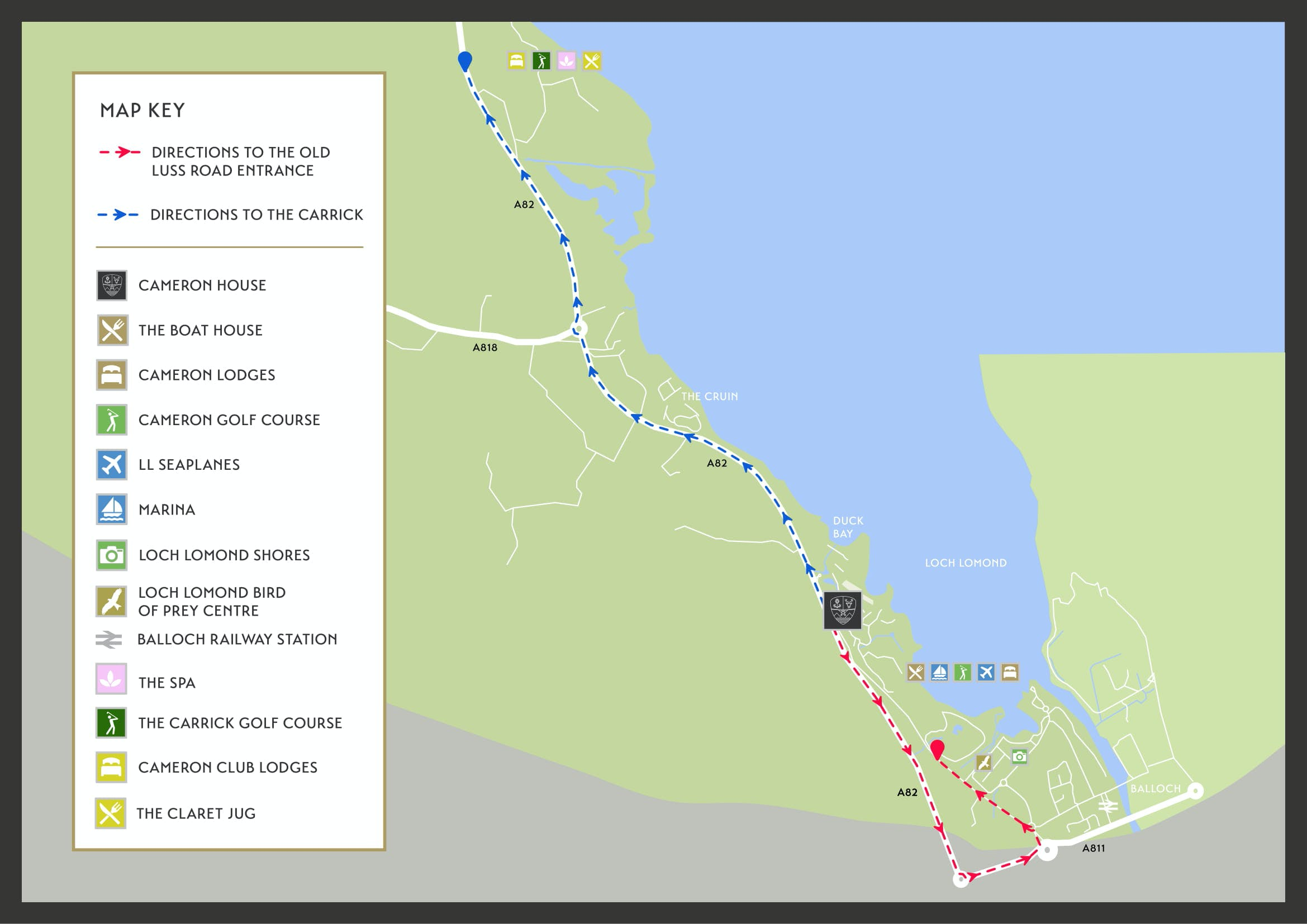 Map directions to Cameron House resort facilities