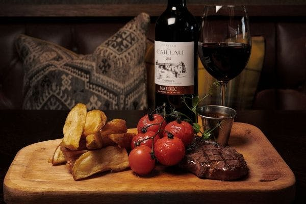 Steak frites and Malbec red wine