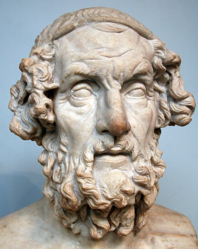 Ποιητής Όμηρος Greek poet Homer, is the legendary author of the Iliad and the Odyssey
