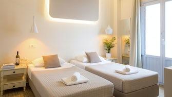 Double /Twin Room with Balcony | Light Blue Window