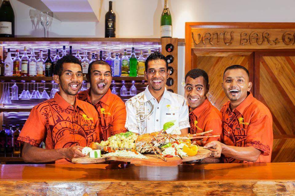 beachfront boutique hotel coral coast fiji fine dining seafood platter lobster staff