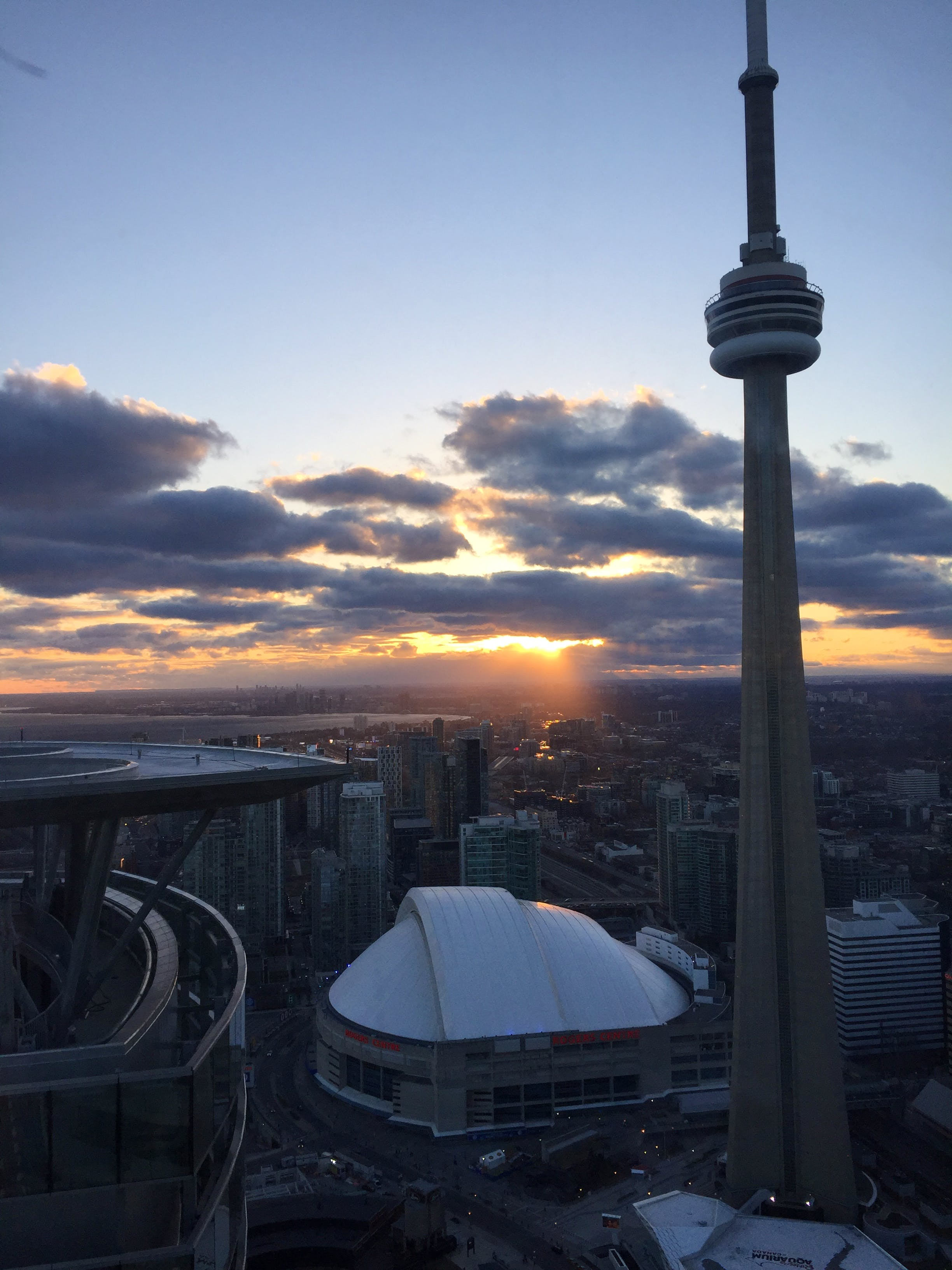 Rogers Centre and CN Tower Toronto Sunset at iHost Suites