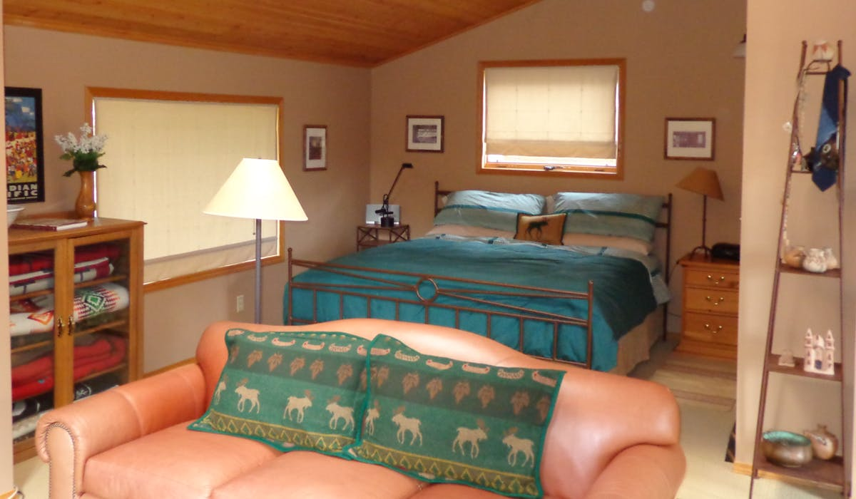comfortable king bed in Mountain View suite