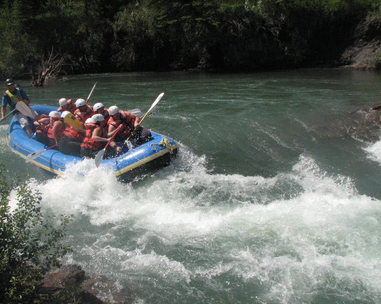 White water rafting is popular near Banff and Canmore in Canadian Rockies
