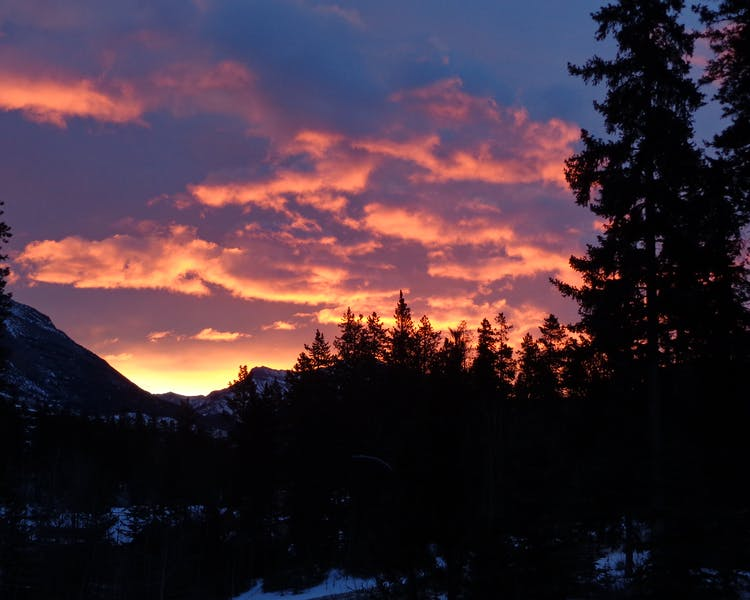 Stunning sunrise viewed from balcony at Canmore bed and breakfast