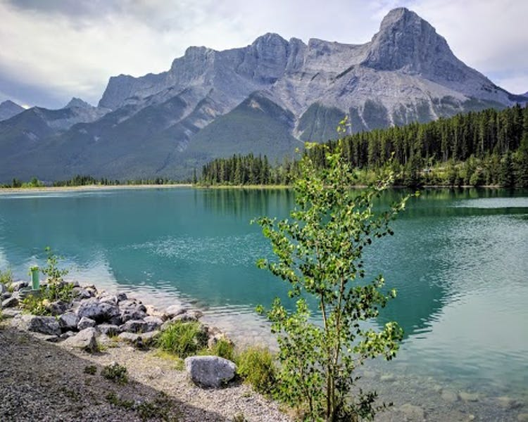 Emerald green waters near Canmore Nordic Ski Center