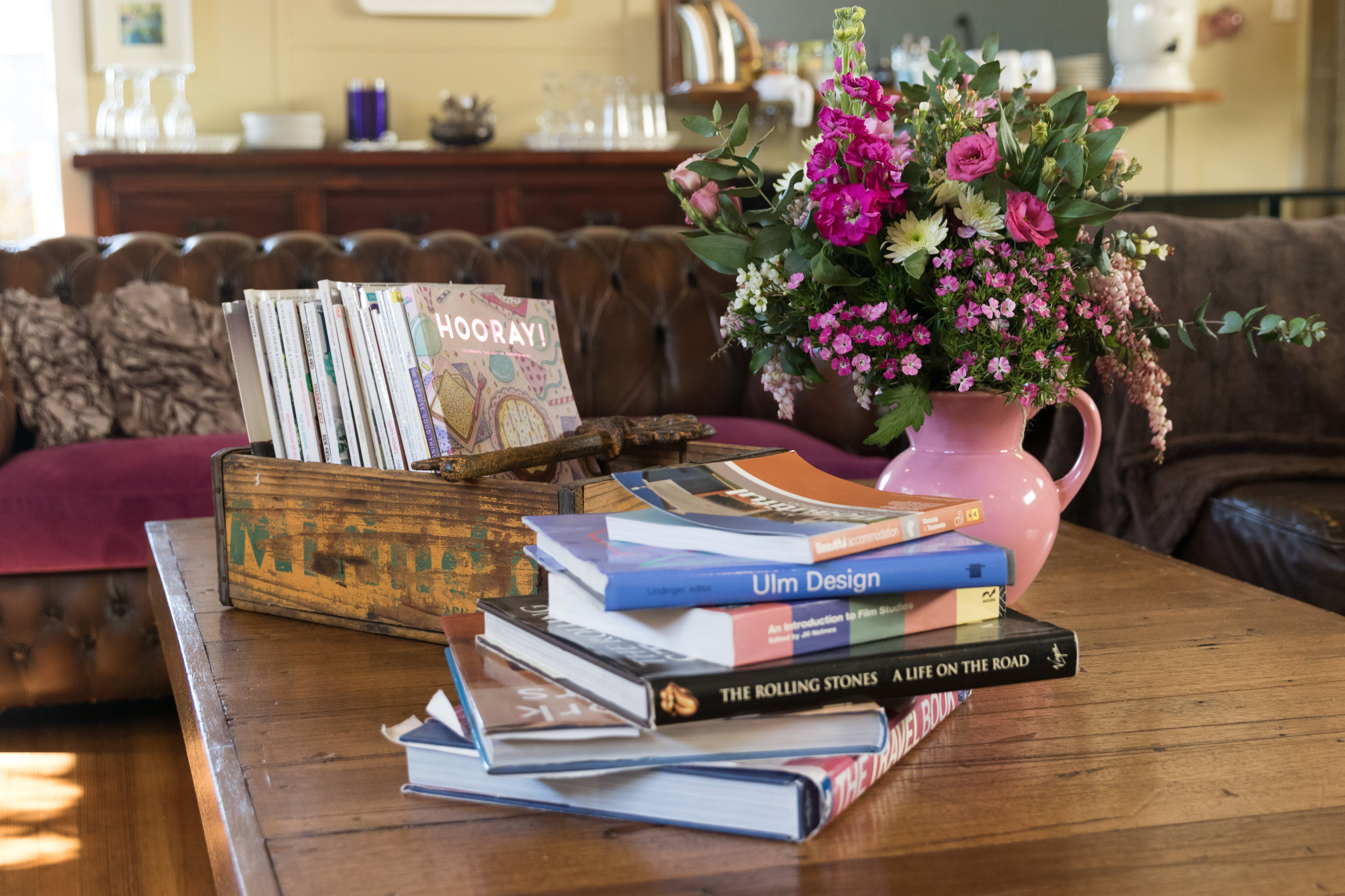 Tuck Inn main lounge with books to browse