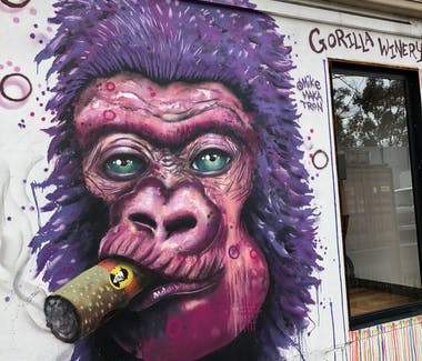 Gorilla picture outside of Paten and Jones Winery Healesville