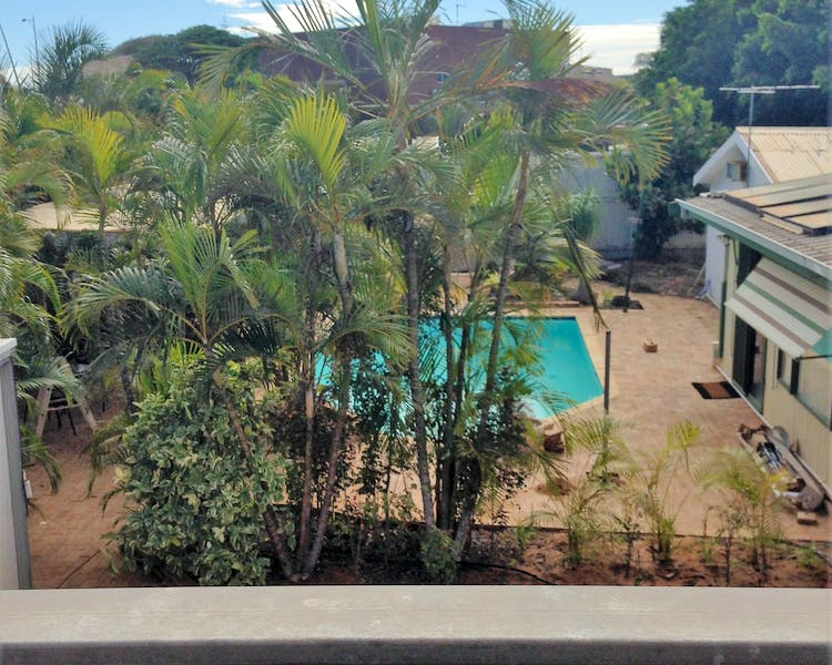 View to pool from house deck