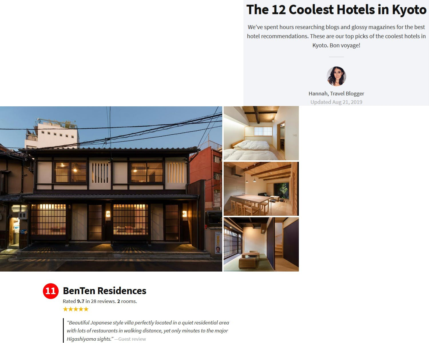 Shimaya Stays Media Mentions - Top Kyoto Hotel list