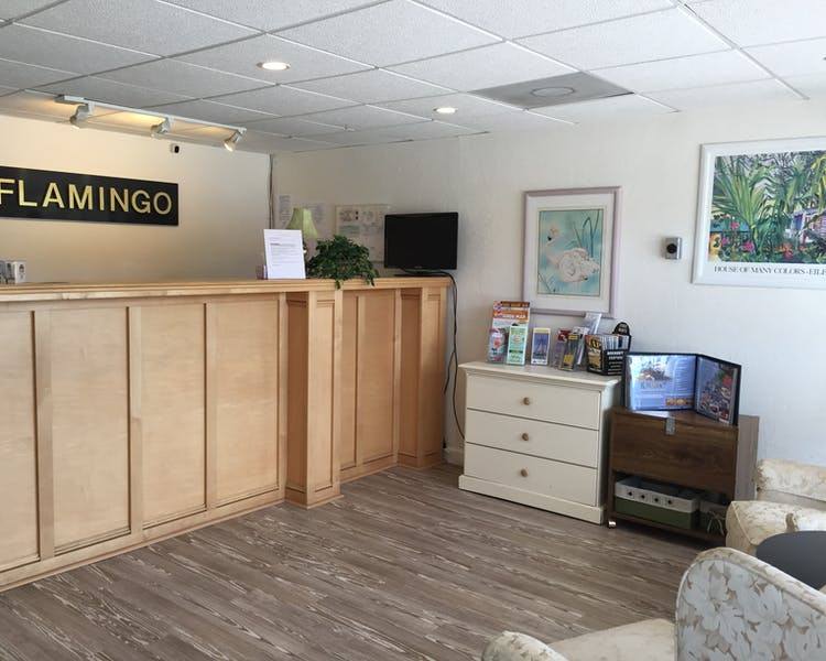 The Flamingo Motel & Villas lobby and front desk
