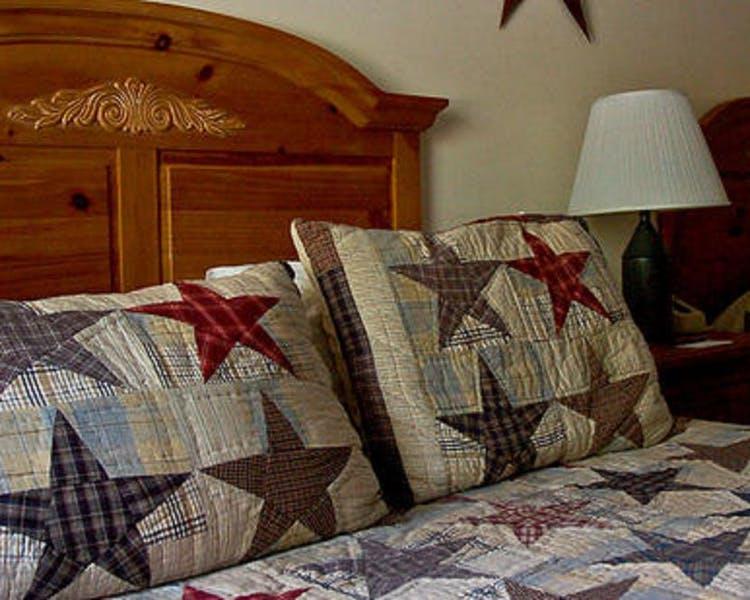 Amish quilts adorn all of our beds.
