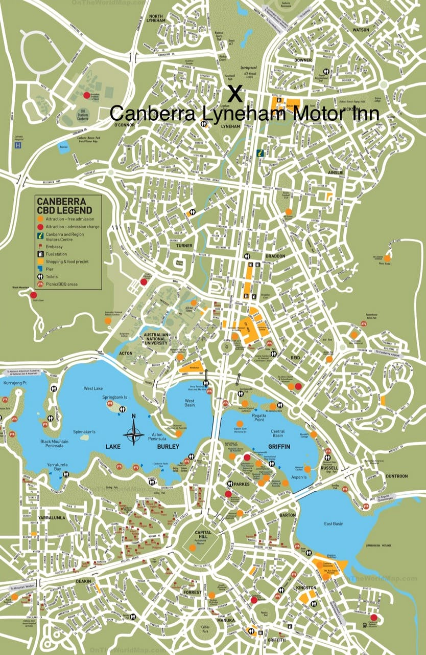 Central Canberra Location Map