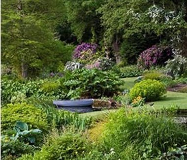 Lush garden and boat on Pond at Beth Chatto's