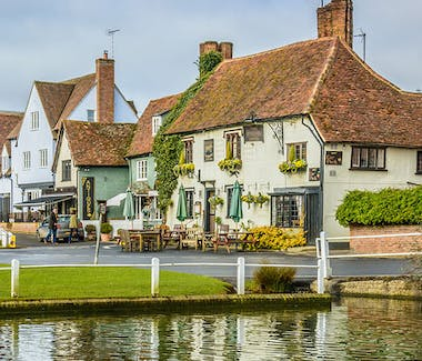 The pretty village centre in Finchingfield is a by the meandering Finchingfield brook