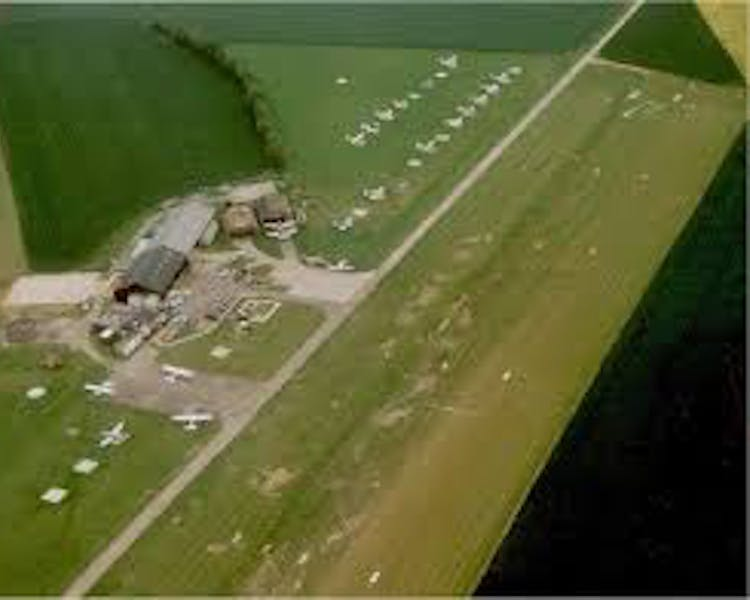 Ariel view of Andrewsfield Aviation at Sailing Airfield where you can train for you Private or Commercial pilots licence.