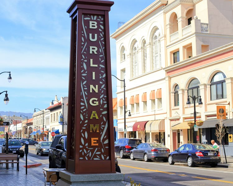 Burlingame Ave., beautiful shopping street 3 miles from The Dylan Hotel