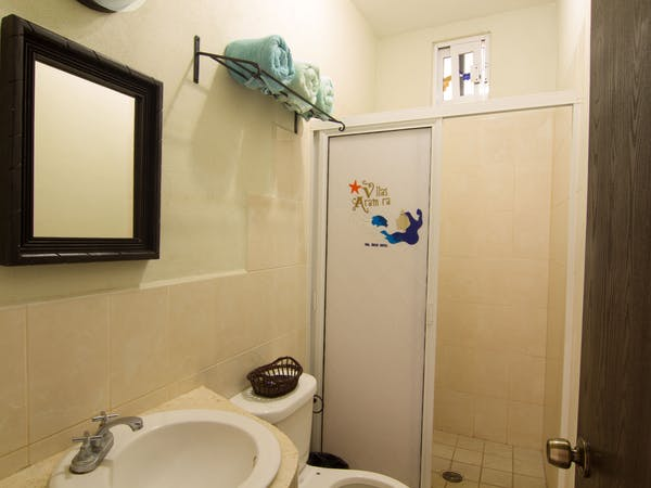 All villas include a private bathroom stocked with towels and basic toiletries.