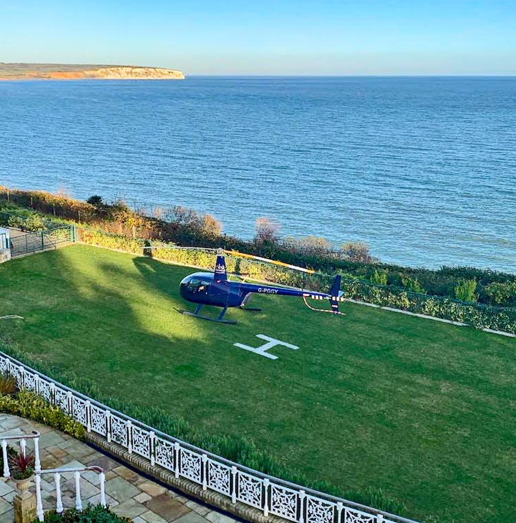 Haven Hall Hotel helicopter on the lower lawn