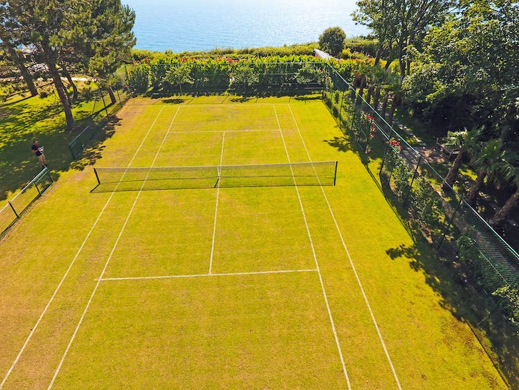 Haven Hall Hotel grass tennis court & sea