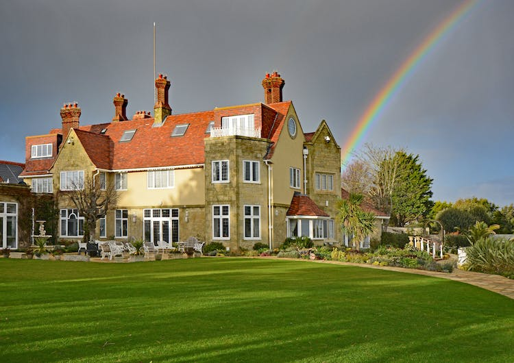 Haven Hall Hotel with rainbow