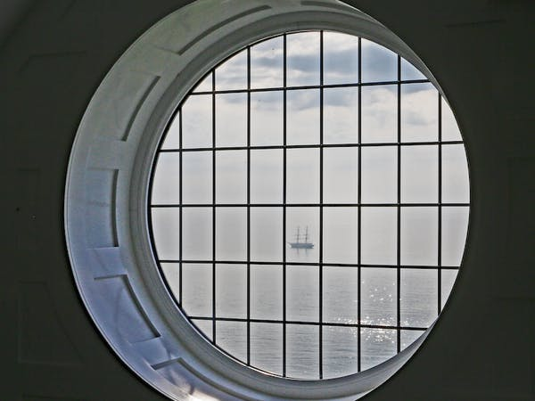 Haven Hall Hotel Penthouse Round Window with tall ship