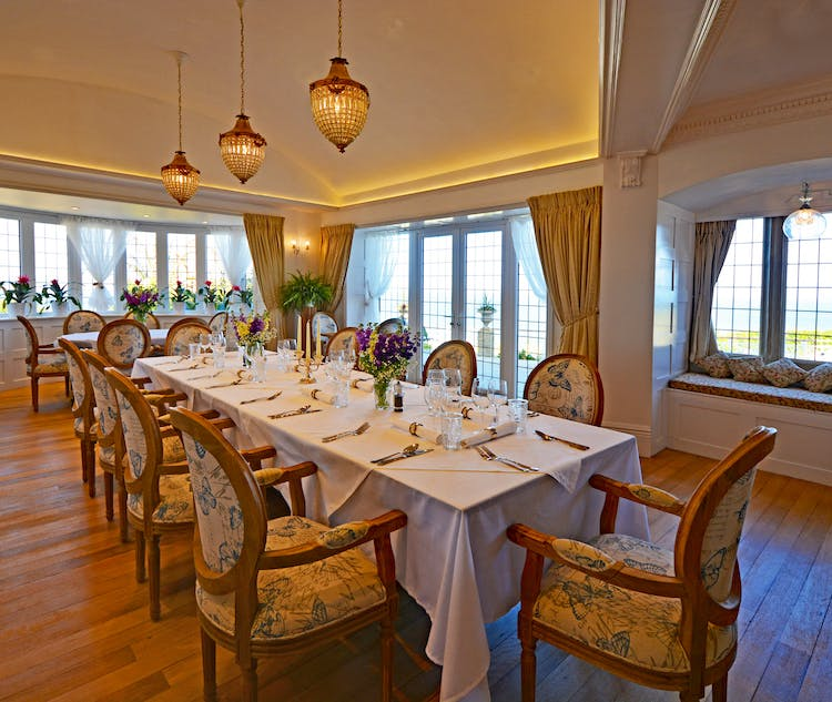 Haven Hall Hotel East Room set for dinner