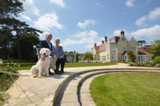 Haven Hall Hotel with owners & managers - David and Arielle Barratt plus Labradoodle Maizie