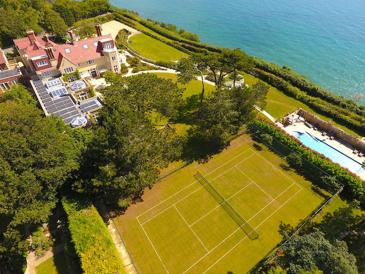 Haven Hall Hotel aerial view of grass tennis court