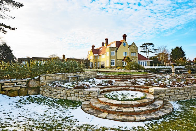 Haven Hall Hotel with Lutyens steps and snow