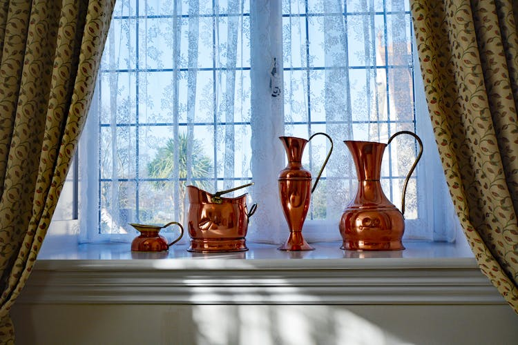 Haven Hall Hotel Bedroom 4 copper jugs