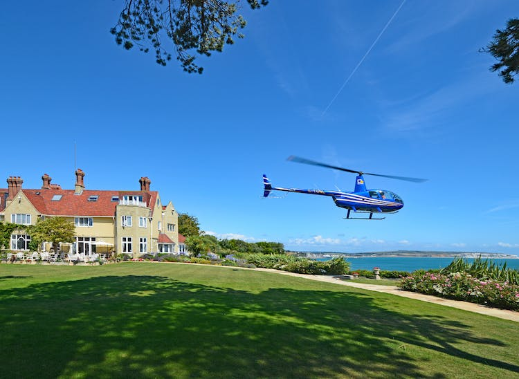 Haven Hall Hotel helicopter taking off