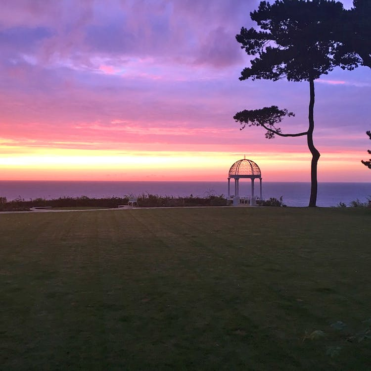 Haven Hall Hotel purple sunrise over the sea