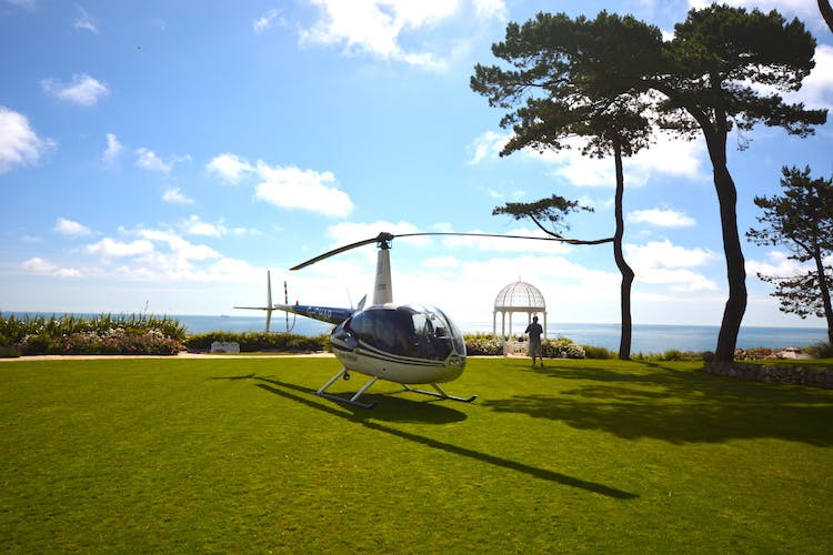 Haven Hall Hotel helicopter on lawn