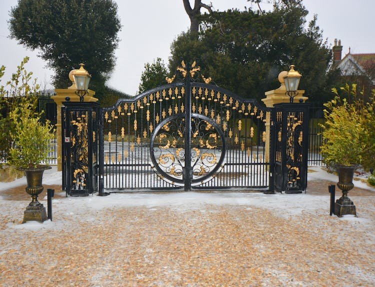 Haven Hall Hotel Front Gate with snow