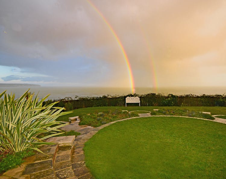 Haven Hall Hotel rainbow hitting bench