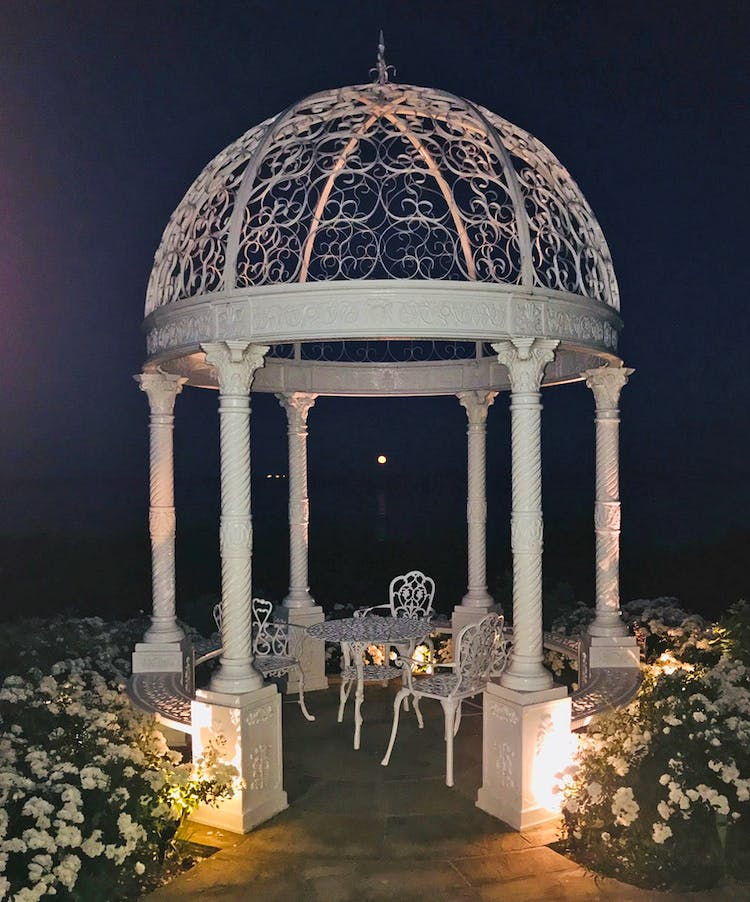 Haven Hall Hotel gazebo at night
