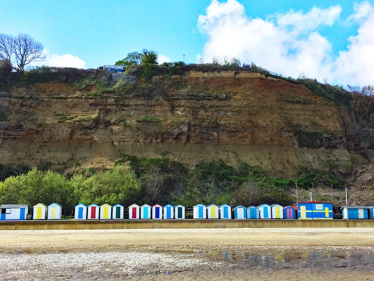 Haven Hall Hotel cliff and beach huts below Hotel
