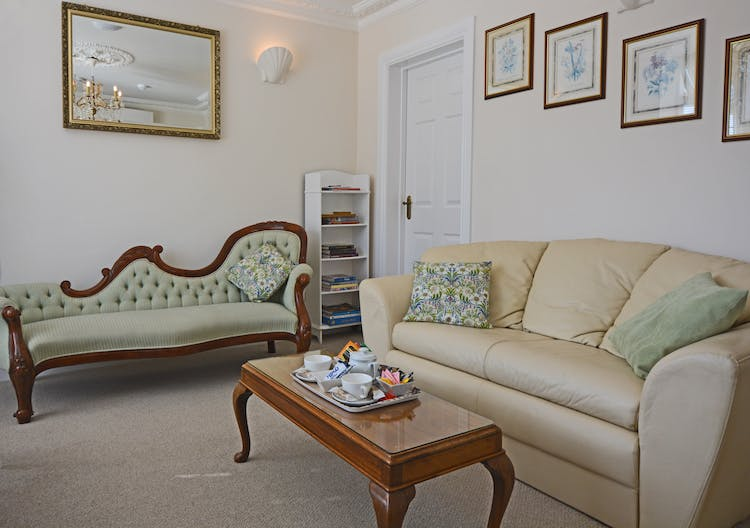 Haven Hall Hotel Garden Suite 4 leather sofa